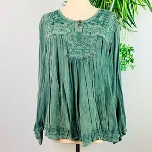 Gypsy Rose Gauze Peasant Boho Blouse Sage Green